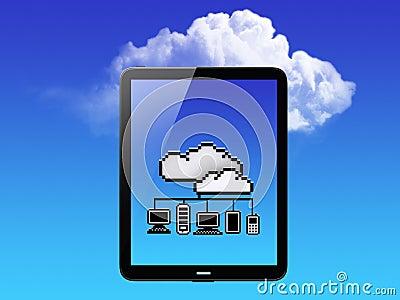 Cloud Concept. Tablet PC