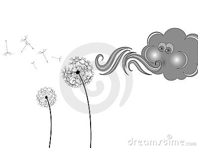 Cloud and dandelion