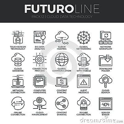 Free Cloud Data Technology Futuro Line Icons Set Stock Image - 62806561