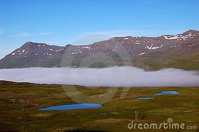 Cloud on the fjord, Iceland
