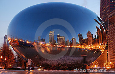 Cloud Gate (The Bean) in Chicago, Illinois Editorial Stock Image