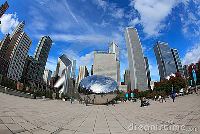Cloud Gate Sculpture in Chicago Editorial Photography