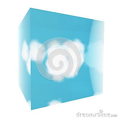 Cloud in glass cube