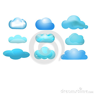 Cloud glossy icon set of 9 (Cloud computing concep