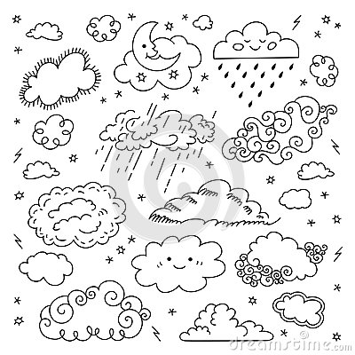 Free Cloud Hand Drawn Clouds Icons Set. Childrens Sky And Weather Symbols, Night Sky, Moon, Rain And Cartoon Clouds. Vector Stock Photo - 102767190