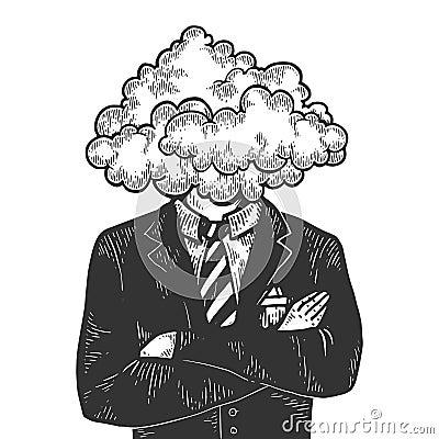 Free Cloud Head Businessman Sketch Engraving Vector Royalty Free Stock Photo - 143136245