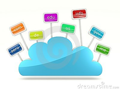 Cloud icon with signs of domain names