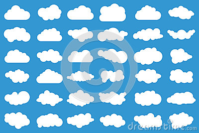 Cloud icons on blue background. 36 different clouds. Cloudscape. clouds. Vector Illustration