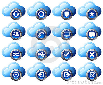 Cloud Icons Blue  - SET 2
