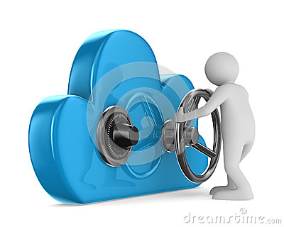 Cloud with lock on white background