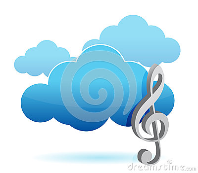 Cloud music storage concept illustration design