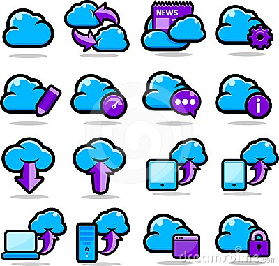 Cloud Network icons set