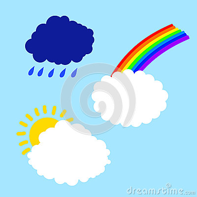 Cloud with rainbow sun and rain