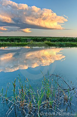 Cloud reflection in the lake