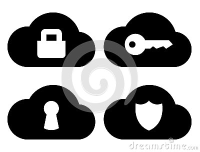 Cloud security icons set