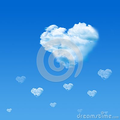 Free Cloud Shaped Heart In Blue Sky. Valentine`s Day Concept Stock Photos - 109518443