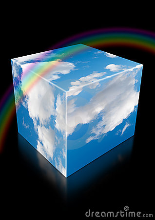 Cloud sky cube with reflection and rainbow