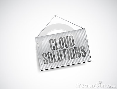Cloud solutions hanging banner illustration