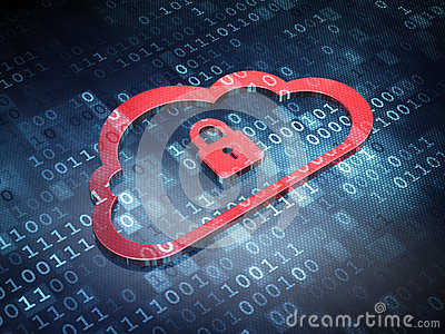 Cloud technology concept: Red Cloud Padlock