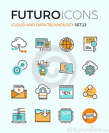 Free Cloud Technology Futuro Line Icons Stock Images - 53565904