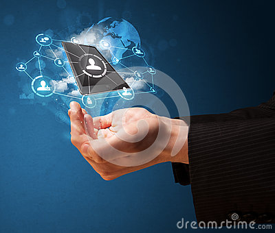 Cloud technology in the hand of a businessman