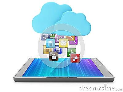 Cloud technology, modern technology. Skachaka applications on yo