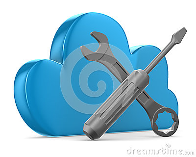 Cloud and tools on white background