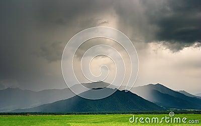 Cloudburst in mountains