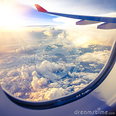 Free Clouds And Sky As Seen Through Window Of An Aircraft Stock Image - 38766961