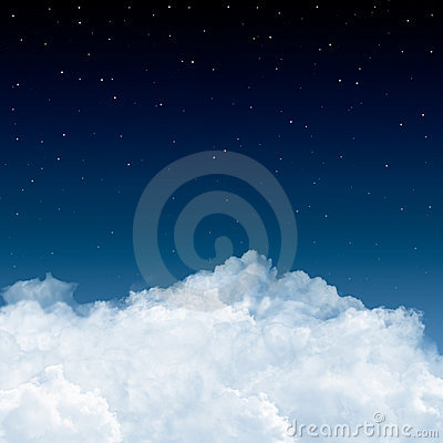 Free Clouds And Stars In Blue Stock Image - 1598301
