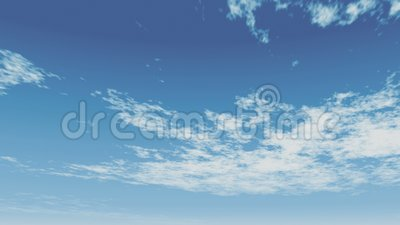 Clouds animated on a blue sky, fast moving clouds. Fast moving clouds animated on a blue sky, clear bright day time video of wispy clouds stock footage