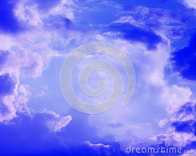 Clouds in the blue sky closeup