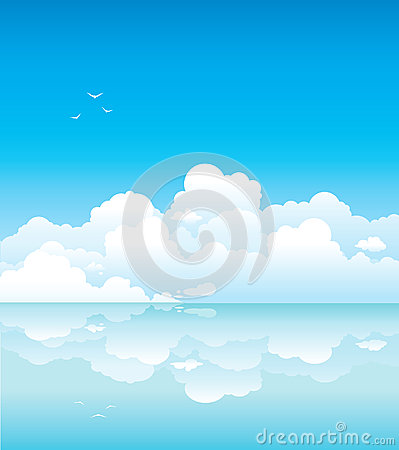 Clouds and calm sea
