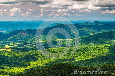 Clouds cast shadows over the Appalachian Mountains and Shenandoah Valley in Shenandoah National Park