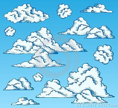 Clouds drawings on blue sky