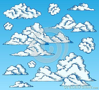 Clouds drawings on blue sky