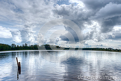 Clouds lake water reflections