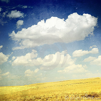 Free Clouds Over Yellow Fields (grunge Image) Stock Photos - 17103943