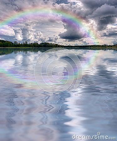 Clouds rainbow lake landscape