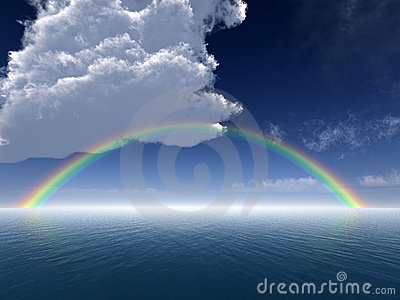 Clouds and Rainbow Over Sea