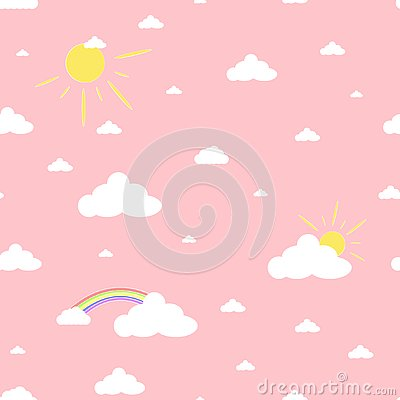Clouds Rainbows and Sun Cute Seamless Pattern Stock Photo