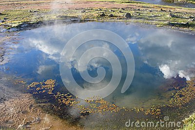Clouds Reflecting in a Geyser Pool