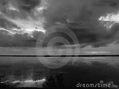 Clouds reflections in black and white