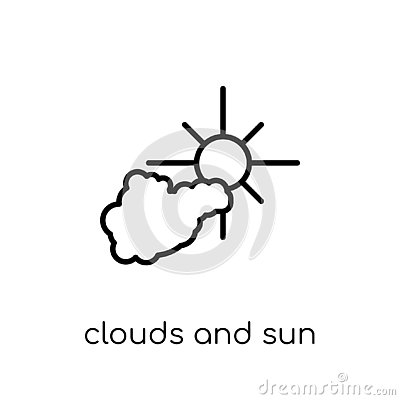 Clouds and sun icon from Weather collection. Vector Illustration