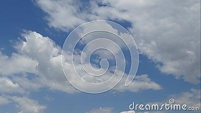 Cloudscape bonito com as nuvens macias brancas no céu azul claro Fundo abstrato da natureza Vídeo do lapso de tempo vídeos de arquivo