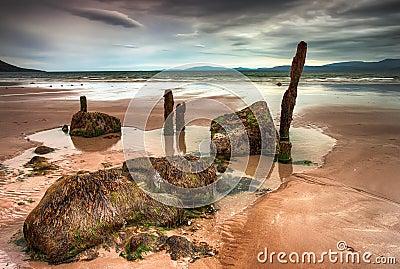 Cloudy beach in Ireland.