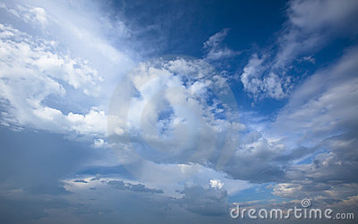 Cloudy blue sky. Beauty blue heaven background