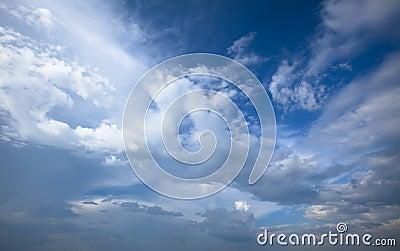 Cloudy blue sky. Beauty blue heaven background