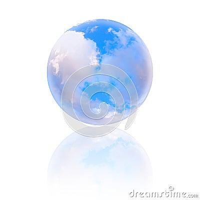 Cloudy blue sky globe