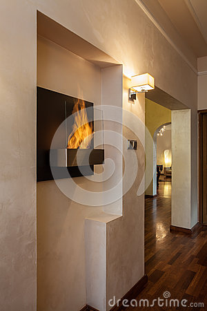 Cloudy home - fireplace